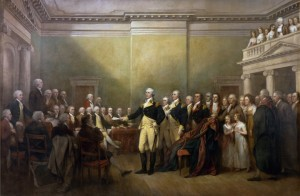 """""""General George Washington Resigns his Commission"""" by John Trumbull. Courtesy US Capitol"""