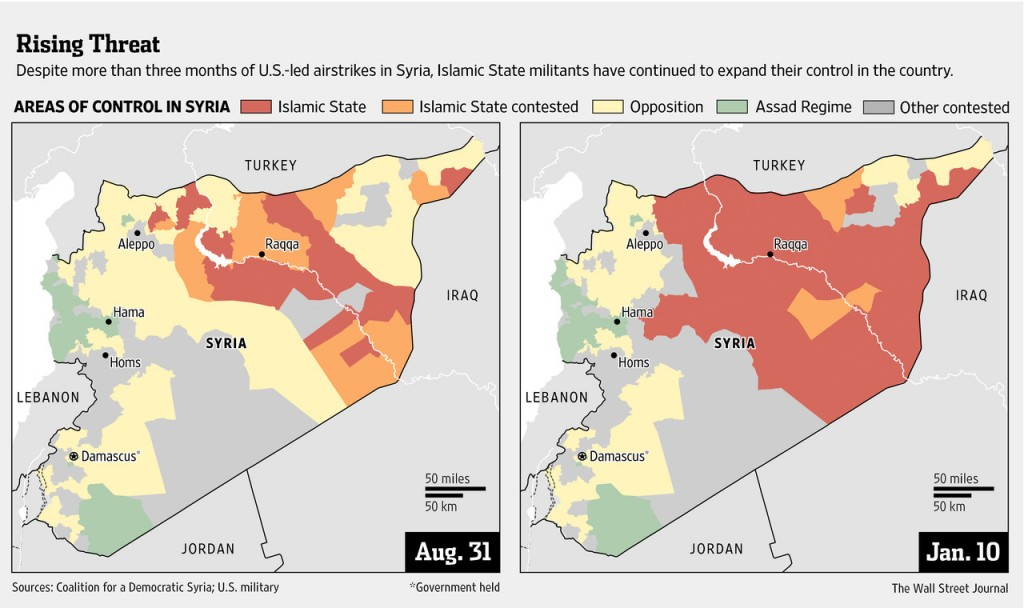 Syria, before and after. Map created by Wall Street Journal