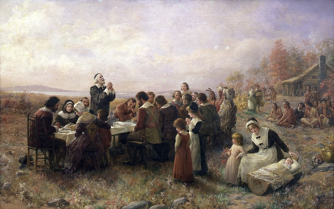 The First Thanksgiving at Plymouth, oil on canvas by Jennie Augusta Brownscombe (1914)